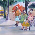 Bus Stop in Mexico watercolor by Naquaiya