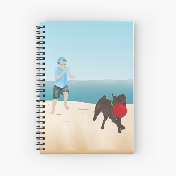 Boy and Dog Playing Ball at the Beach Spiral Notebook