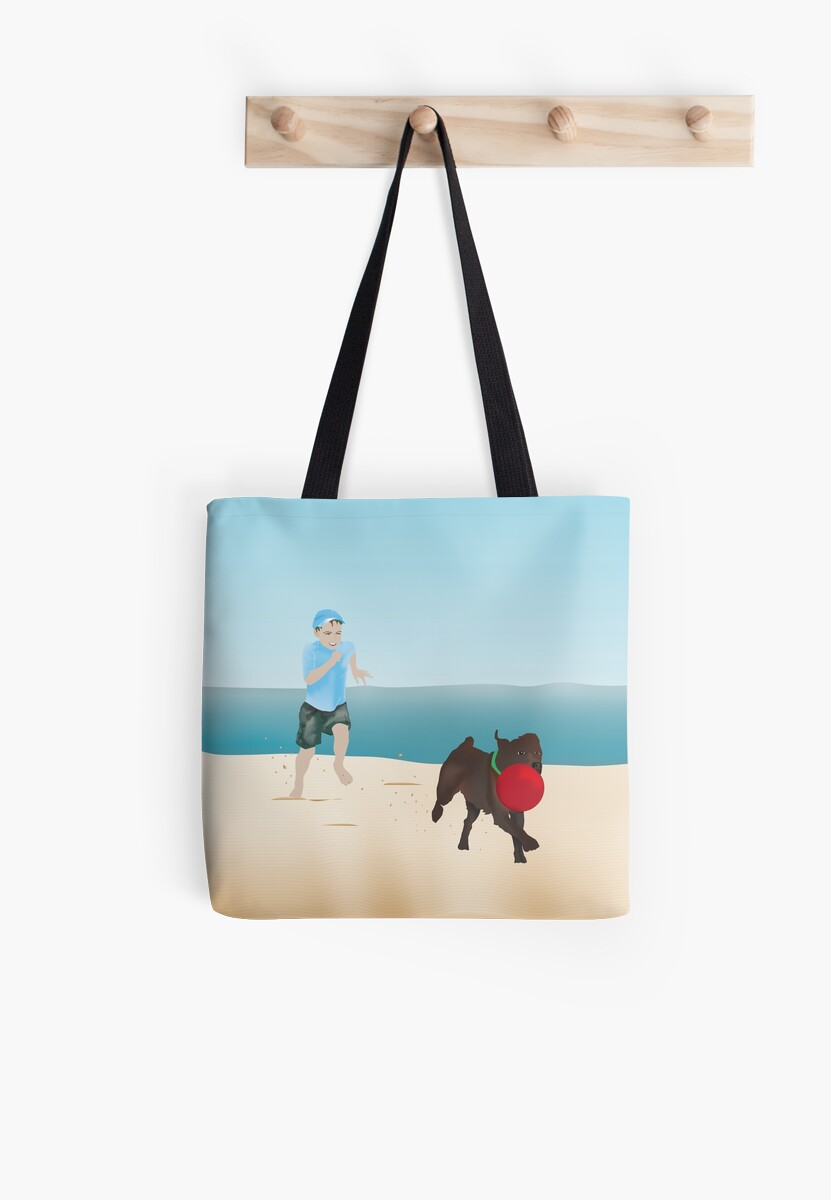 Boy and Dog Playing Ball at the Beach by Devine-Studios