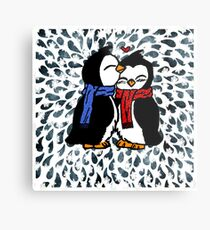 Paint yourself from paper into the world - Penguin in Love Metal Print