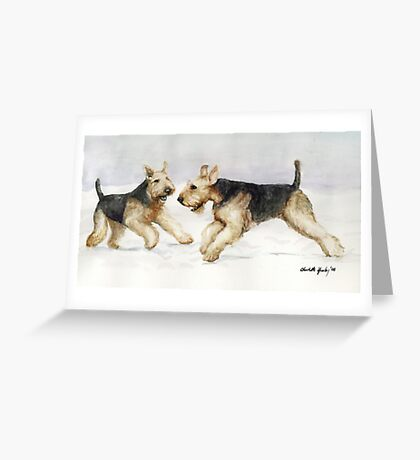 Tis the Season to be Jolly Airedale Watercolor Painting Greeting Card