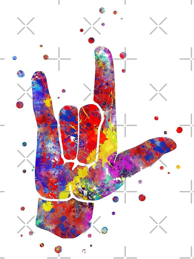 I love you ASL sign language, watercolor sign language,  I love you American Sign Language by Rosaliartbook