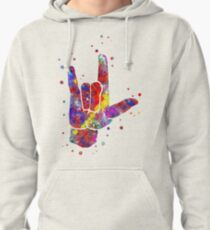 I love you ASL sign language, watercolor sign language,  I love you American Sign Language Pullover Hoodie