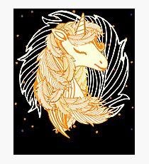 Gorgeous Golden Unicorn Cute Patterned Gift Fotodruck