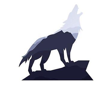 Mountain Wolf Apparel,  Wolf Silhouette Lone Mountain Wanderer Wolf T Shirt by teesogram