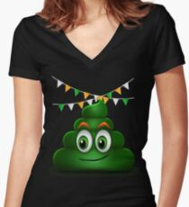 Poop Smile Smiley Funny St. Patrick's Day Gift Women's Fitted V-Neck T-Shirt