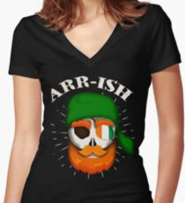 Arr-Ish Irish Pirate St. Patrick's Day Funny Gift Women's Fitted V-Neck T-Shirt