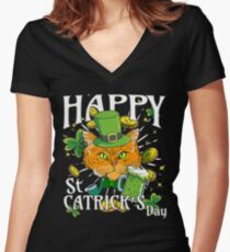 Happy St. Catricks Day Funny St. Patricks Cat Lover Women's Fitted V-Neck T-Shirt