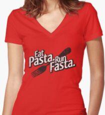 Eat Pasta. Run Fasta. Women's Fitted V-Neck T-Shirt