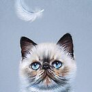 Kitten  and feather by Elena Kolotusha
