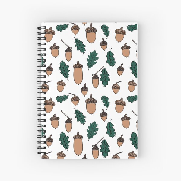 Oak Leaves and Acorns Repeat Pattern Spiral Notebook