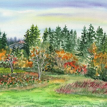 Impressionistic Fall Landscape in Watercolor  by IrinaSztukowski