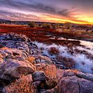 Willow Lake Rock Wall Sunset 1 by Bob Larson