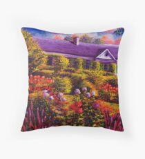 Monet's Garden and House Throw Pillow