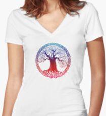 Celtic Tree (inverted sunset) Women's Fitted V-Neck T-Shirt