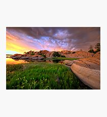 Willow Lake Round Rock Photographic Print