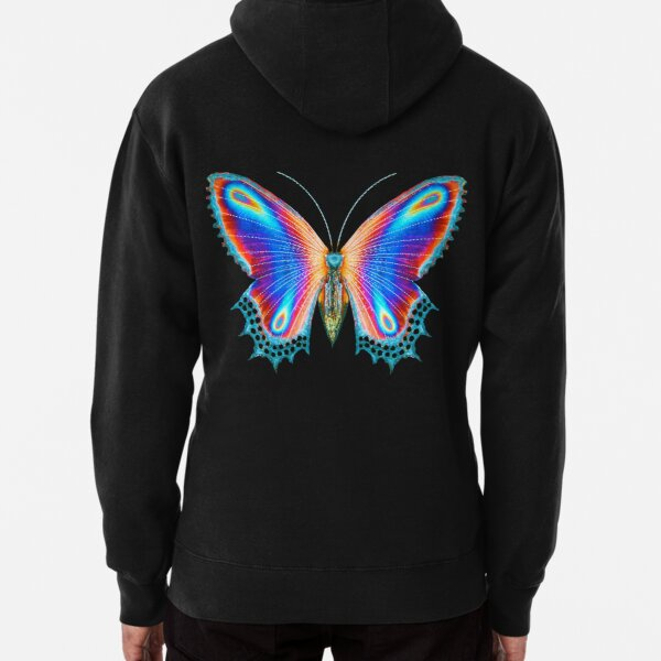 Multicolor Butterfly - (back of clothing item version) Pullover Hoodie