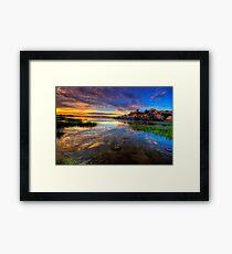 Willow Lake Spring Sunset Framed Print