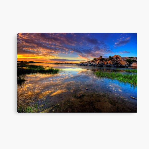 Willow Lake Spring Sunset Canvas Print