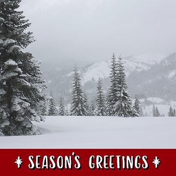Snowy Mountains and Trees Holiday Card by JaredManninen
