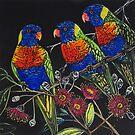 Rainbow Lorikeets by Karen  Neal