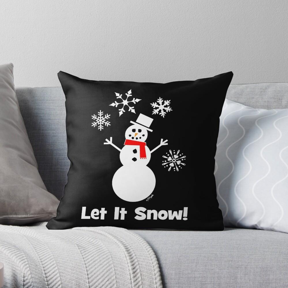 Let It Snow Snowman Throw Pillow By Artvixen Redbubble