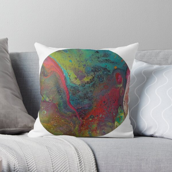 Flow on round wood panel Throw Pillow