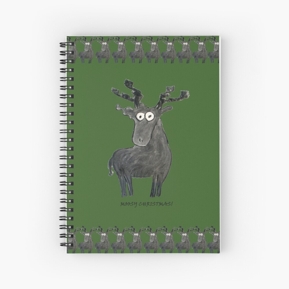Moosy Christmas Spiral Notebook