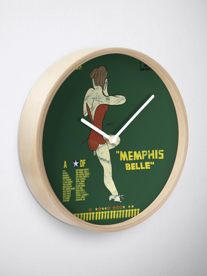 "Alternate view of ""Memphis Belle"" B-17 F Flying Fortress WWII Nose Art Pinup Design Clock"