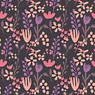 Handpainted floral design soft colours on dark bg by Kitty van den Heuvel