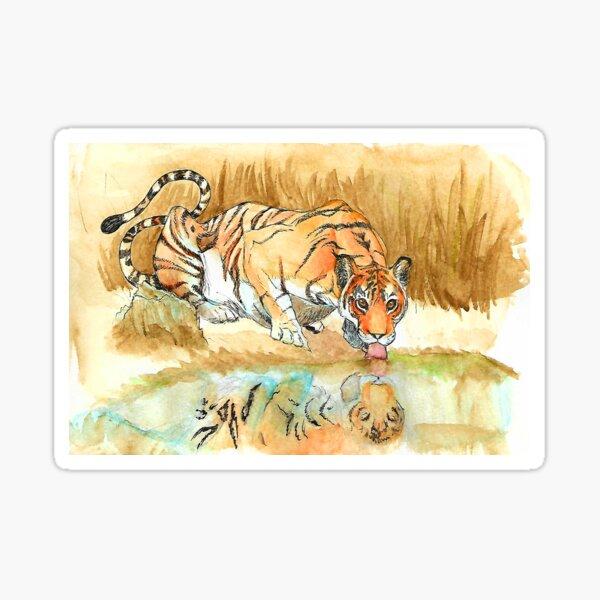 A Tiger Having a Drink Sticker