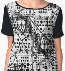 analog synthesizer modular system - black and white illustration Chiffon Top