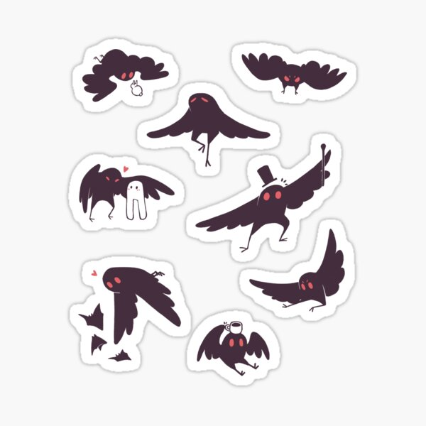 mothman stickers set of 8 Sticker