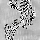 Mikrofon mit Notenblatt. Musik, Notenschlüssel, Micro. von Christine Krahl