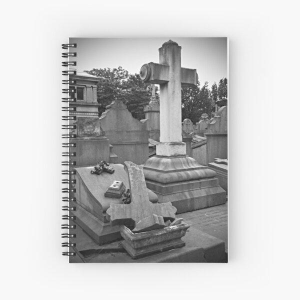 Broken cross and tombstone Spiral Notebook