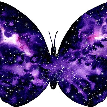 Watercolor Space Butterfly by Cordata