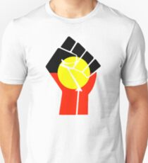 Raised Fist - Aboriginal Flag Unisex T-Shirt