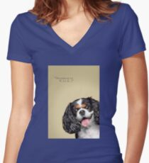 Curious and Cute Cavalier King Charles Spaniel Women's Fitted V-Neck T-Shirt