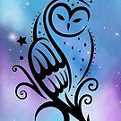 Mond Eule mit Galaxie Aquarell. von Christine Krahl