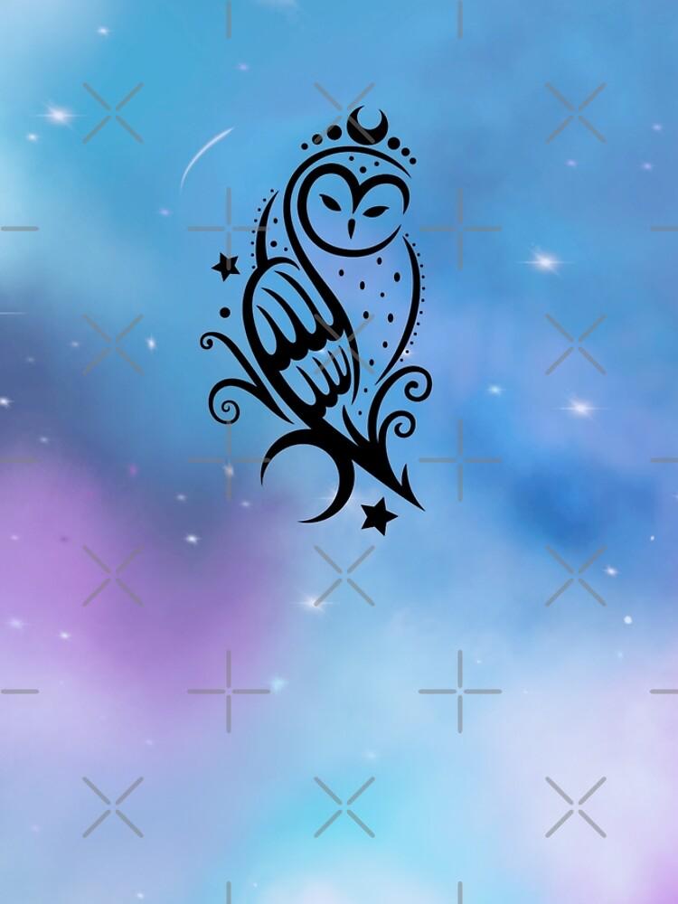 Mond Eule mit Galaxie Aquarell. von ChristineKrahl