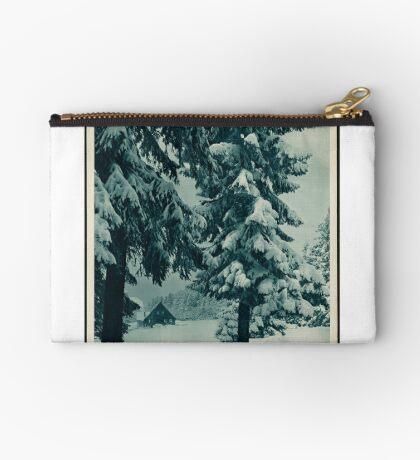 Vintage German Winter Germany Snow Cabin Travel Advertisement Art Posters Zipper Pouch