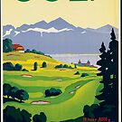 Vintage Lausanne Switzerland Golf Travel Advertisement Art Posters by jnniepce