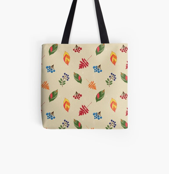 Berries and fall leaves repeat pattern All Over Print Tote Bag