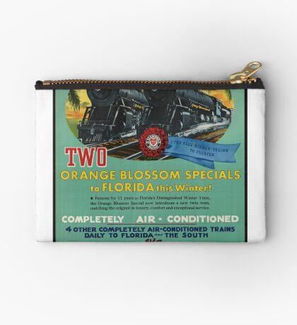 Vintage Seaboard Railway Florida Travel Advertisement Art Posters Zipper Pouch