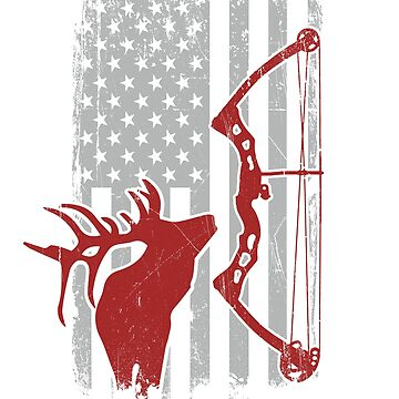 Bow Hunting Elk - Compound Bowhunter - Bow and Arrow Archery Bull Elk Hunt - Vintage American Flag by SuckerHug