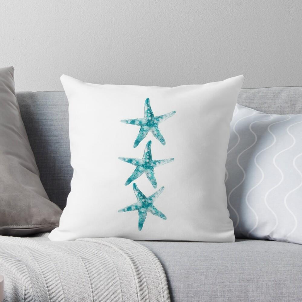 Aquamarine starfish Throw Pillow