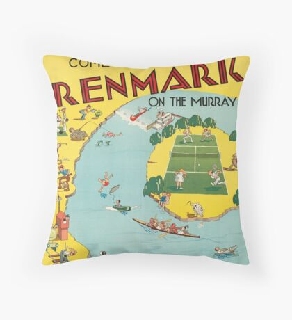 Vintage Renmark Australia Retro Travel Advertisement Art Posters Throw Pillow