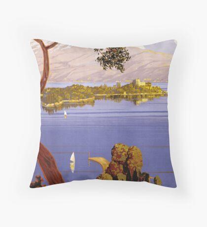 Vintage Lake Garda Italy Italian Travel Advertisement Art Posters Throw Pillow