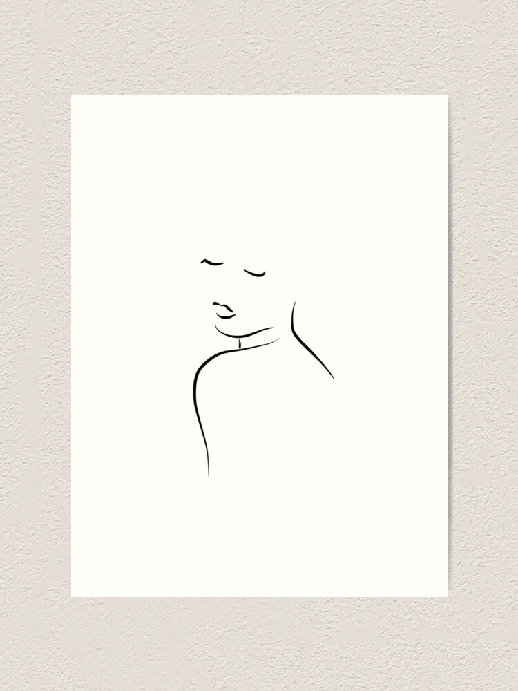 Simple Line Art Drawing Of A Woman Kiss Me Cora Art Print By Odyanne Redbubble
