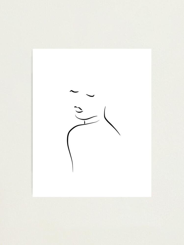 Impression Photo Dessin Au Trait Simple D Une Femme Embrasse Moi Cora Par Odyanne Redbubble